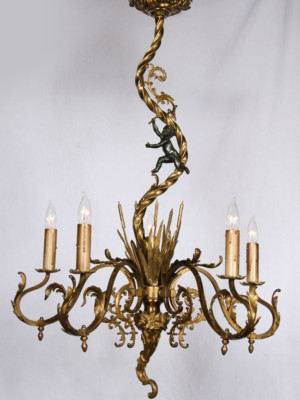 Late 19th Century Antique Rococo Chandelier - Cattails, a Black Cherub, & Twisted Rope