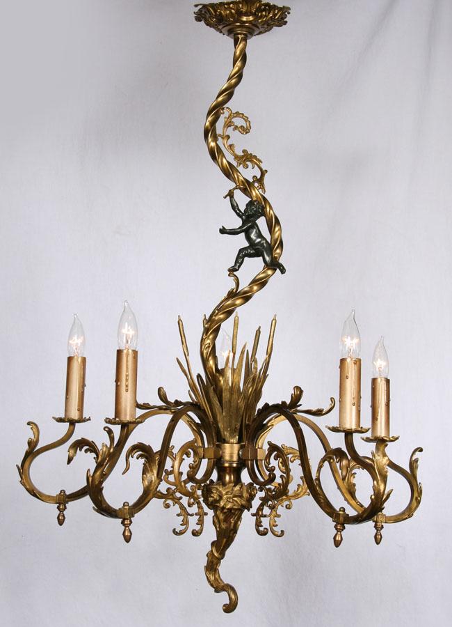 19th century antique rococo chandelier cattails a black cherub late 19th century antique rococo chandelier cattails a black cherub twisted rope mozeypictures Gallery