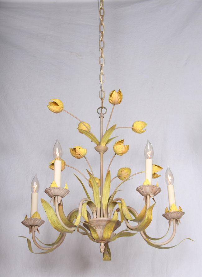 Vintage hand painted green yellow tulip chandelier c1960 aloadofball Choice Image