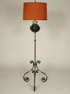 Antique Victorian Oil Conversion Floor Lamp, c.19th Century