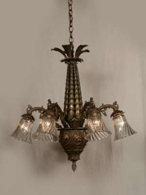 "Intricately Cast ""Cascading Flowers"" Vintage European Chandelier, c.1940"