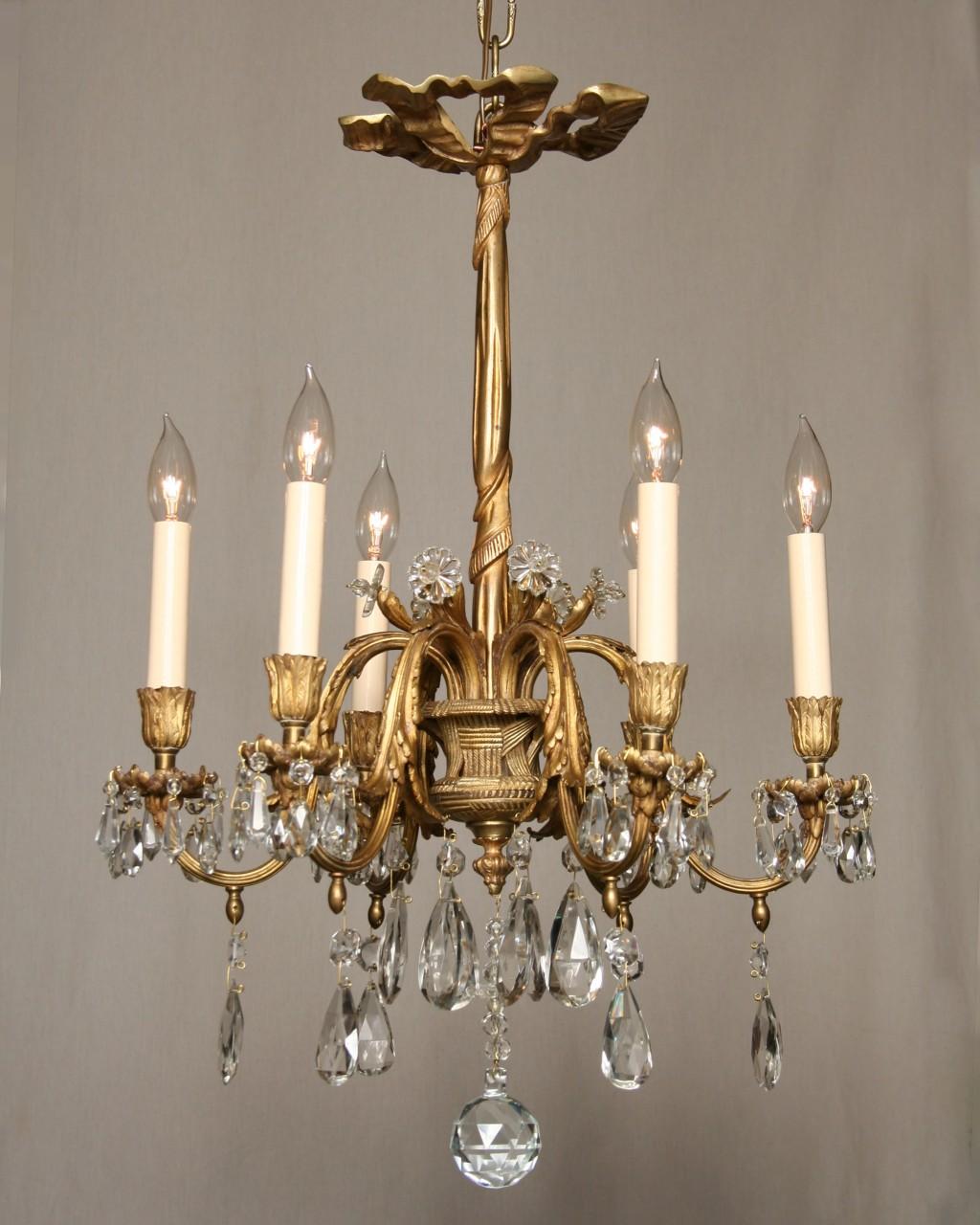 Vintage french basket chandelier in gold crystal c1945 aloadofball Choice Image