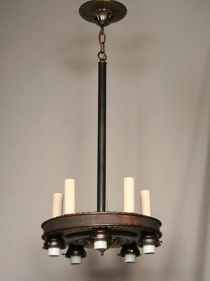 Art Deco Up/Down Chandelier in Bronze, c. 1930