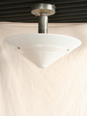 Vintage Art Deco Flush Mount W/ Milk Shade, c. 1930