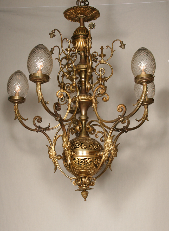 Vintage five light chandelier with pierced orb c 1940 aloadofball Image collections