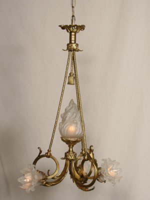 French Cast Brass Vintage Chandelier, c. 1940