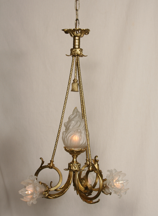 - French Cast Brass Vintage Chandelier, C. 1940