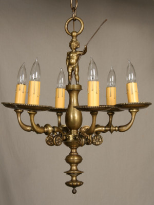 Compact Vintage Chandelier With Cherub, c. 1940