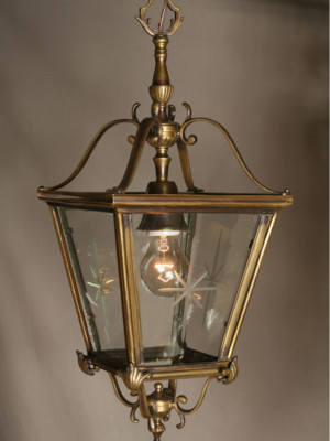 Colonial Lantern With Antique Brass Finish, c. 1940
