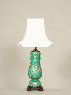 Vintage Asian Pottery Lamp With Dragon Accent, c. 19th Century