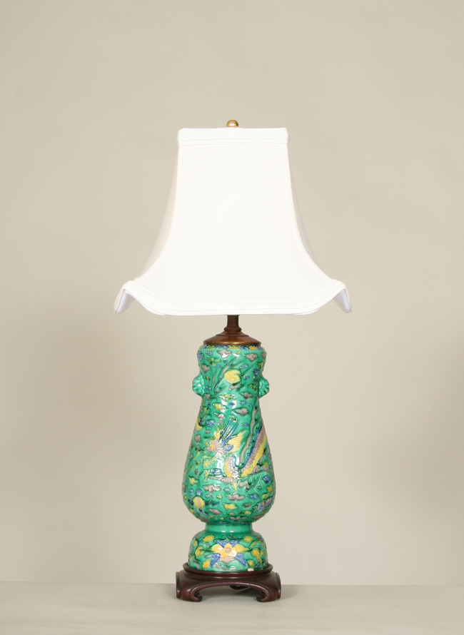 Vintage asian pottery lamp with dragon accent c 19th century