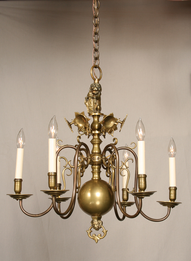 Vintage williamsburg chandelier with sun reflectors c 1920 aloadofball Image collections