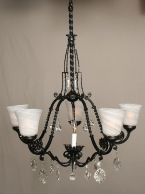 French Chandelier with Crystal Accents, c. 1960