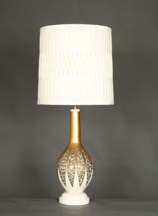 Vintage Pair Of Ivory And Gold Table Lamp With Emerald Accents, C. 1950