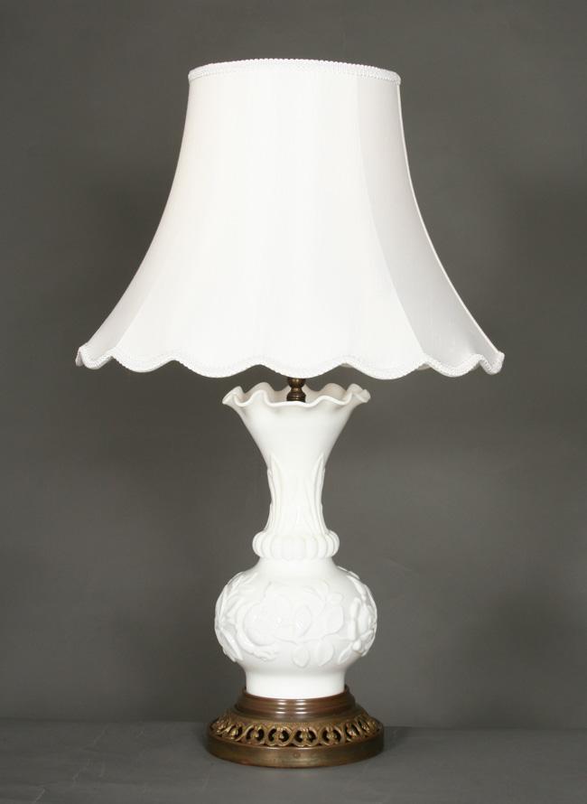 Vintage Mouth Blown Glass Vase Lamps C 1940