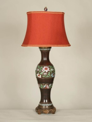 Champlevé Table Lamp w/ Lotus Blossoms, c. 19th Century
