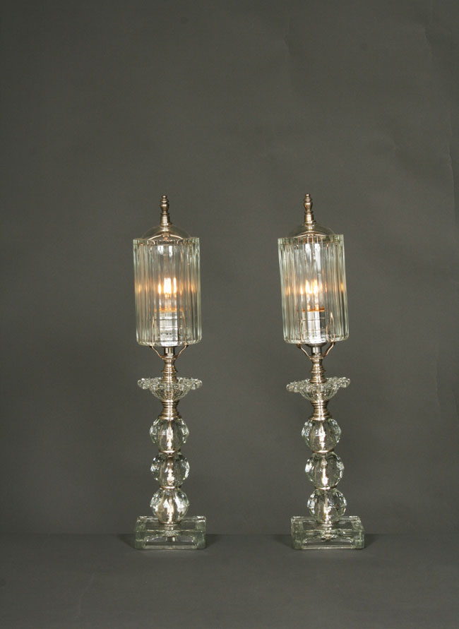 Pair Of Boudoir Lamps W Glass Shades C 1930