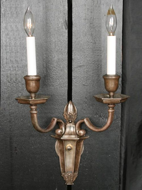"Pair of Silvered Copper ""E.F. Caldwell"" 2 Lt Sconces, c. 1930"
