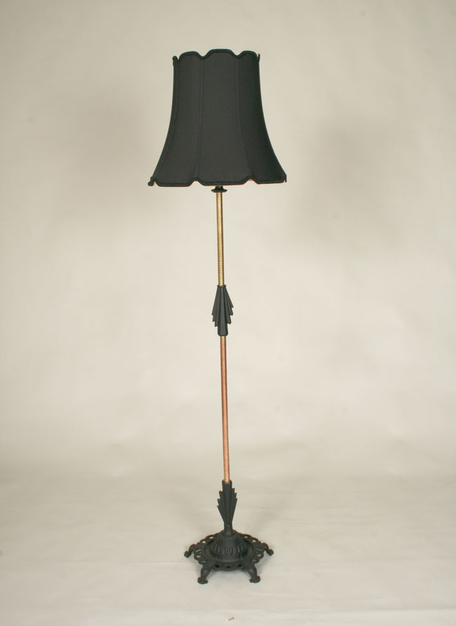 Vintage two light floor lamp w jadeite accents c 1940 art deco floor lamp w black contrasting details c 1920 aloadofball Choice Image
