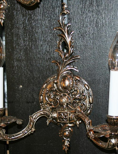 Pair of Two Light Silver Plated Spanish Wall Sconces, c. 1950