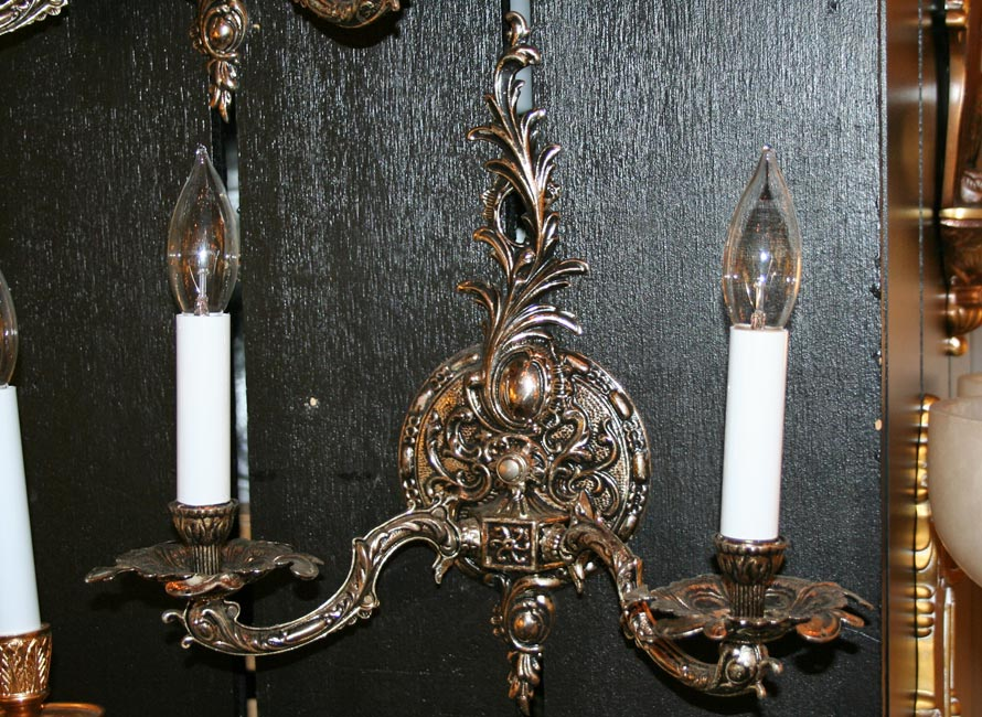Pair of Two Light Silver Plated Spanish Wall Sconces c. 1950 & of Two Light Silver Plated Spanish Wall Sconces c. 1950 azcodes.com