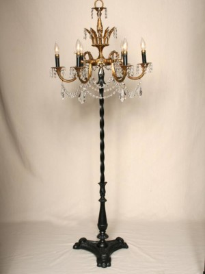 Brass & Crystal Chandelier Floor Lamp w/ Black Accents