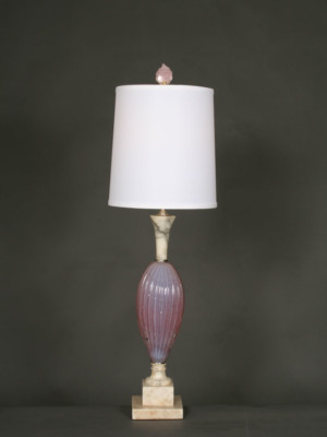 Vintage Pink Art Glass Table Lamp on Marble Base, c. 1960.