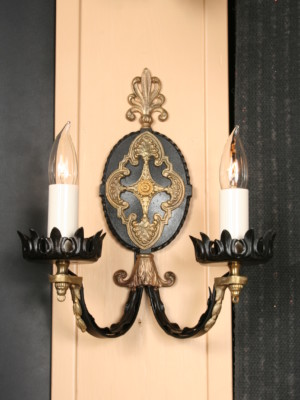 Pair of Spanish Revival Wall Sconces w/ Black & Brass Details, c. 1920