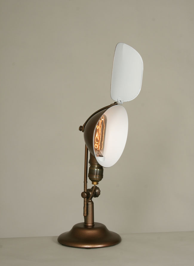 Vintage desk lamp w metal shade c 1930