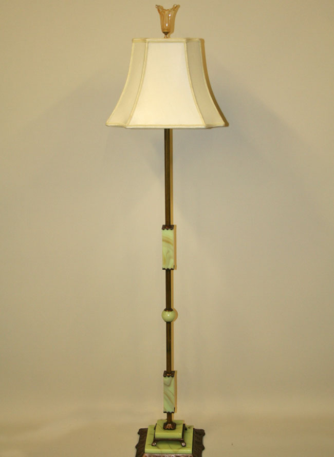 Vintage two light floor lamp w jadeite accents c 1940 aloadofball Choice Image