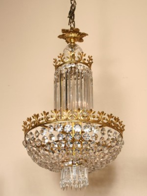 6Lt Grand Empire Chandelier, c. 1945