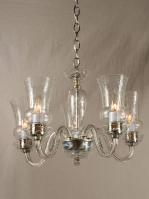 Crystal Chandelier w/ Etched Details & Glass Hurricane Shades, c. 1940