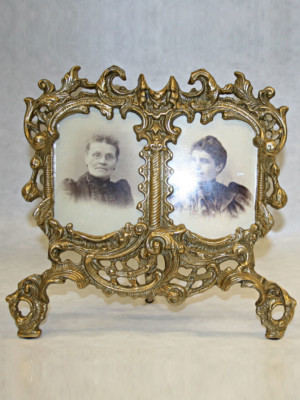 Vintage Brass Double Frame, c. 1920