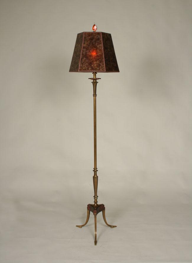 3 Legged Antique Brass Floor Lamp C 1945