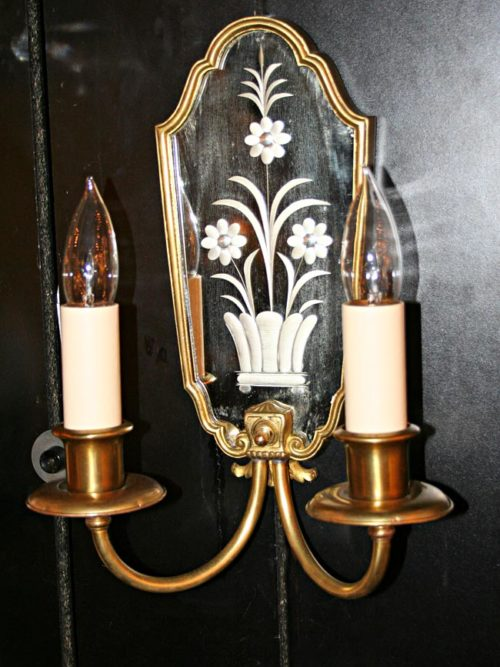 Pair of Brass Two Light Sconces w/ Hand Etched Mirror Backplate, c.1920