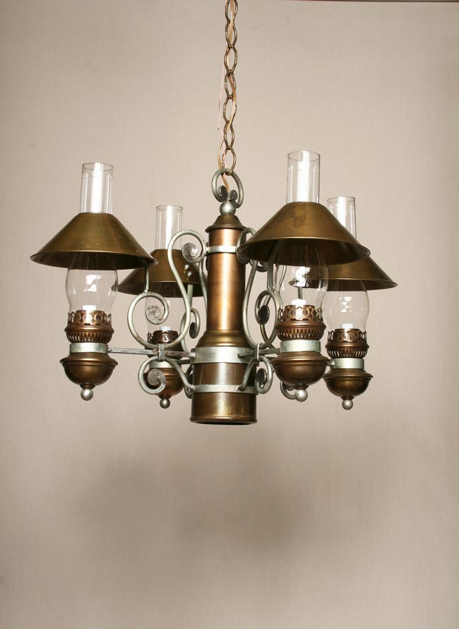 4lt hurricane lamp chandelier w metal shades c 1950 aloadofball Image collections