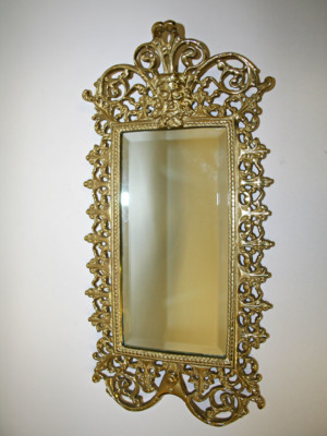 Vintage Cast Brass Wall Mirror w/ Green Man Image, c. 1930