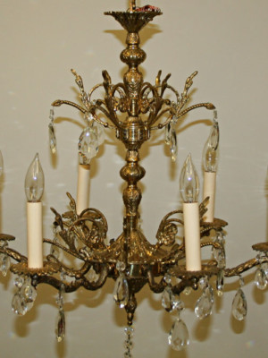 Six Light European Ornate Brass Chandelier w/ Crystal, c 1960