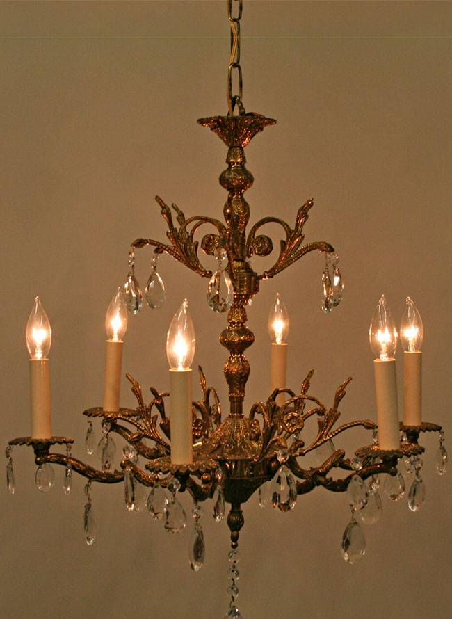 Light european ornate brass chandelier w crystal c 1960 six light european ornate brass chandelier w crystal c 1960 mozeypictures Image collections