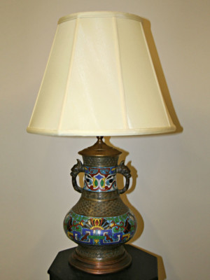 Champlevé Table Lamp w/ Dragon Handles, c. 19th Century