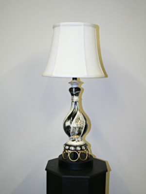 Vintage Black & Gold Porcelain Table lamp, c.1960's.
