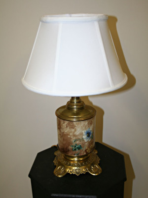 Hand Painted Porcelain & Brass Table Lamp, c. Early 20th Century