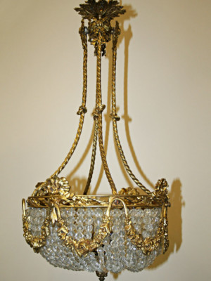 Exquisite Victorian Gas Conversion Chandelier, c. 19th Century
