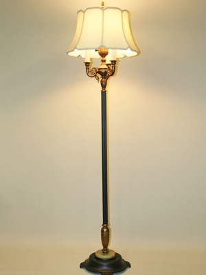 Six Way Floor Lamp w/ Antique Gold Decorative Arm accents, c. 1940
