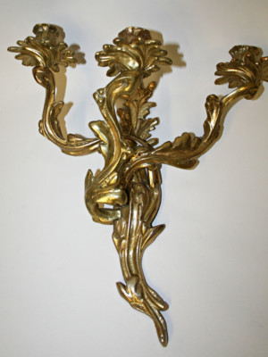 Pair of Rococo Style 3 Arm Brass Candle Sconces, c. 1950