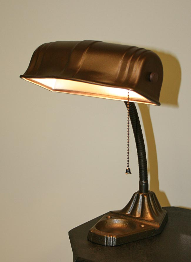Bankers lamp w metal shade c 1930