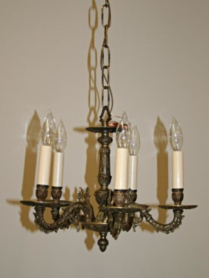 Five Light Chandelier w/ Detailed Casting, c. 1950