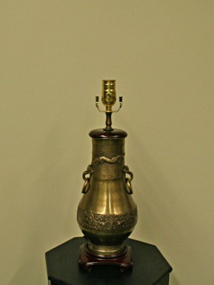 Brass Asian Dragon Urn Vase Lamp, c. 1960