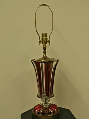 Mid Century Ruby & Clear Glass Table Lamp