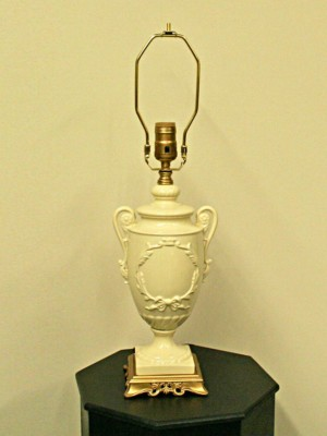 Porcelain Trophy Lamp w/ Gold Painted Base, c. 1930